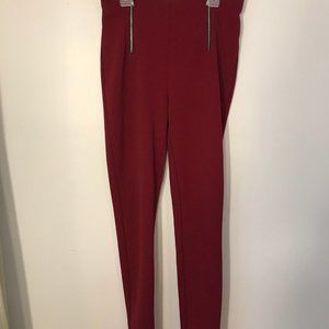 Forever 21 Red Leggings with Exposed Zipper Detail